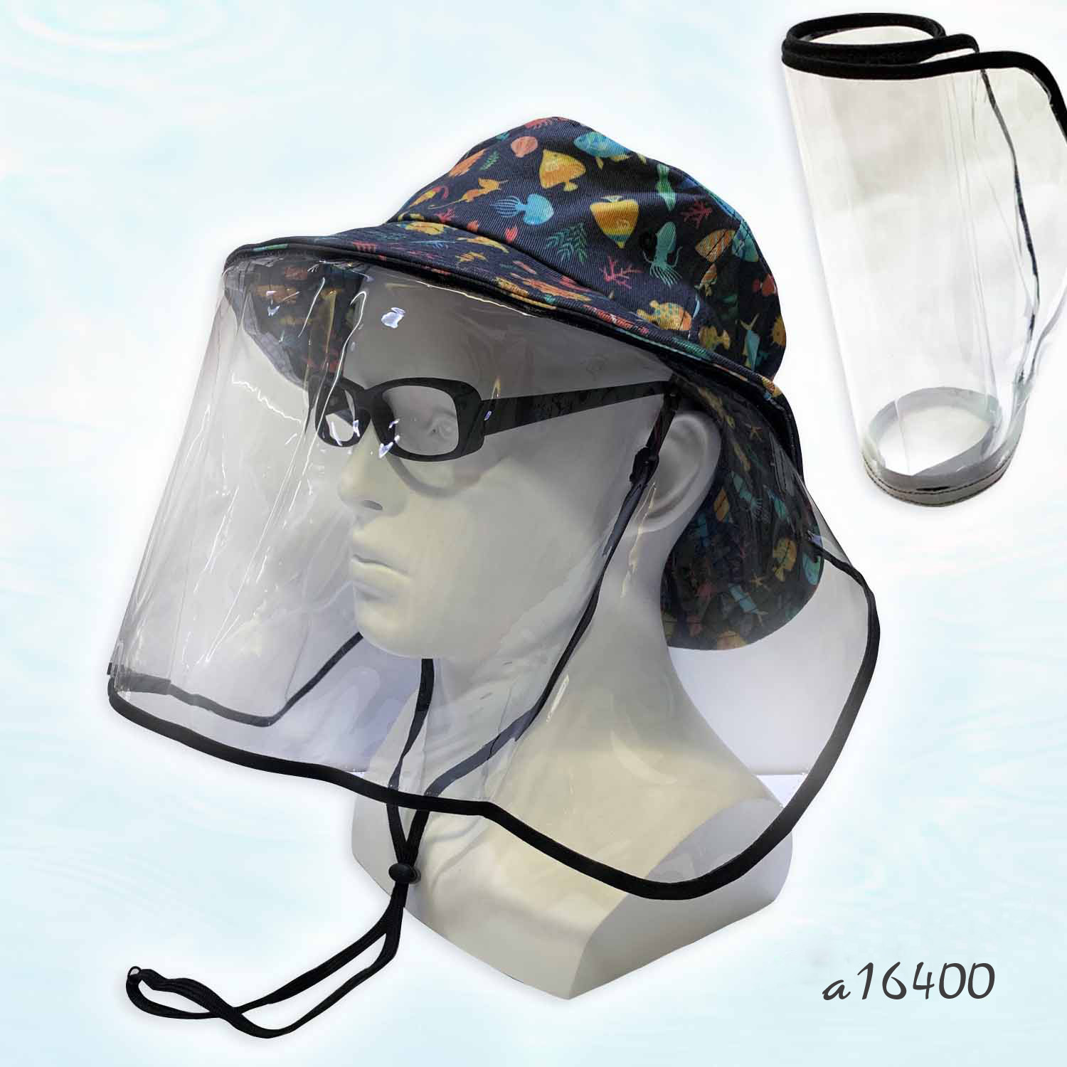 2-in-1 Cotton Digital Printed Bucket Hat and Face Shield Set