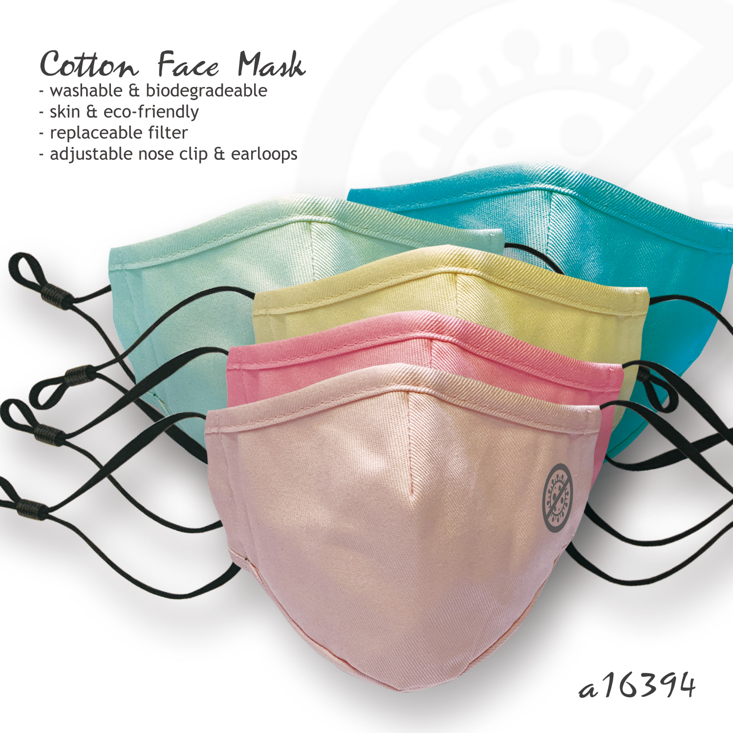 Cotton Face Mask with Anti-Virus Pattern