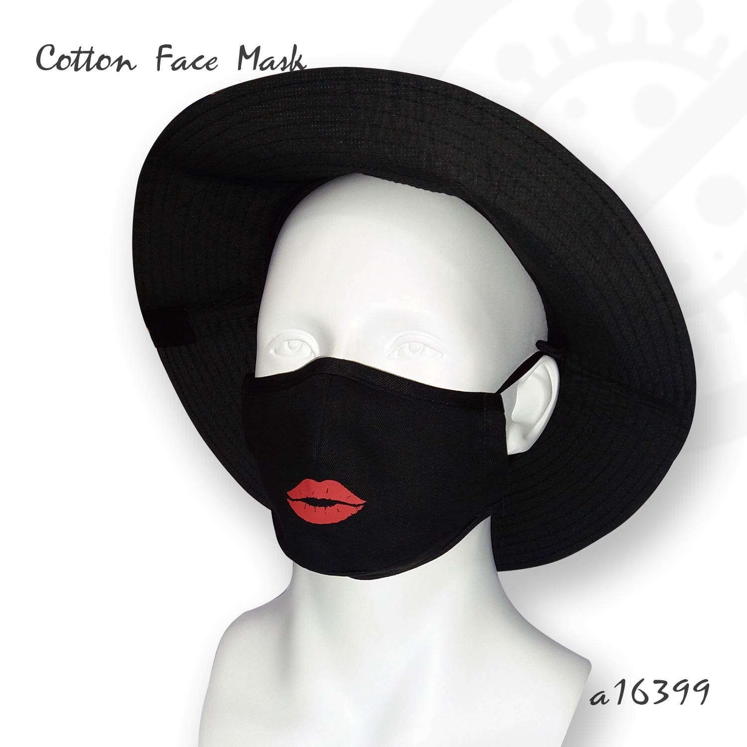 Cotton Face Mask with Lips Print