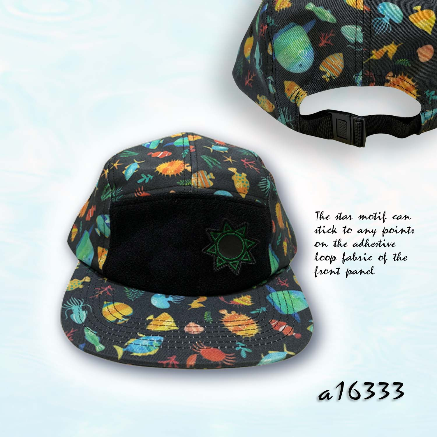 Hook & Loop Motif Snapback Digital Printed Camper
