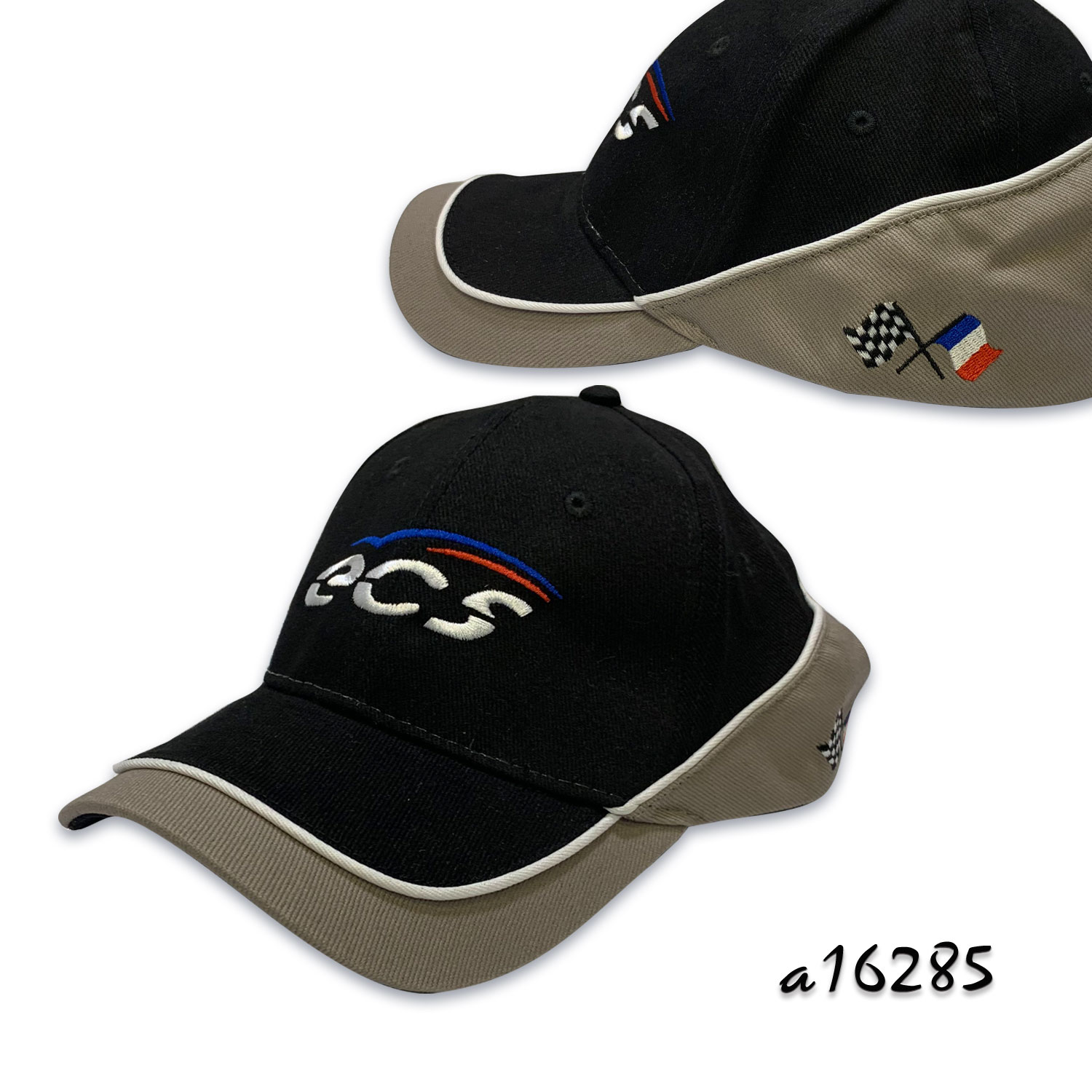 Racer cap with embroidery and two tone layer panel