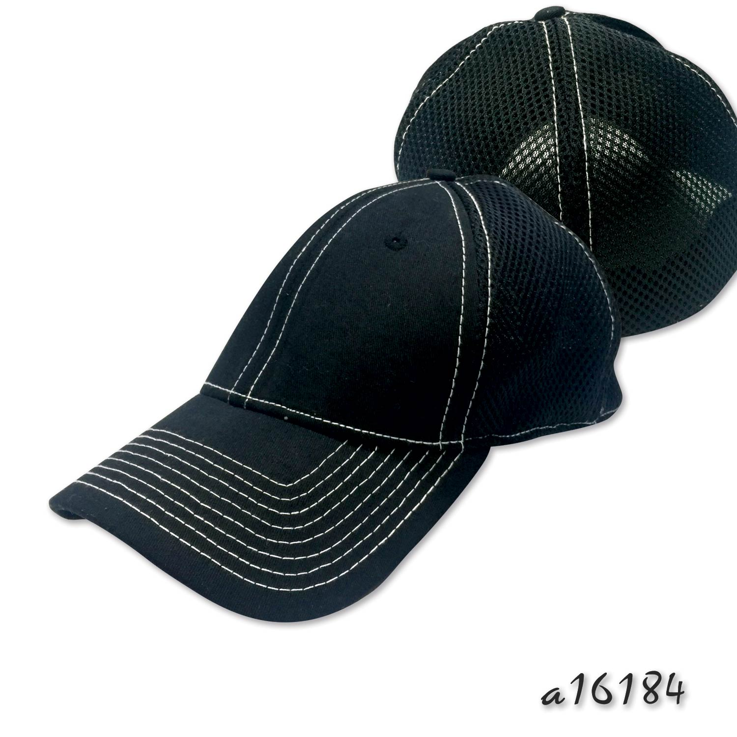 Sandwich mesh cap with contrast stitches