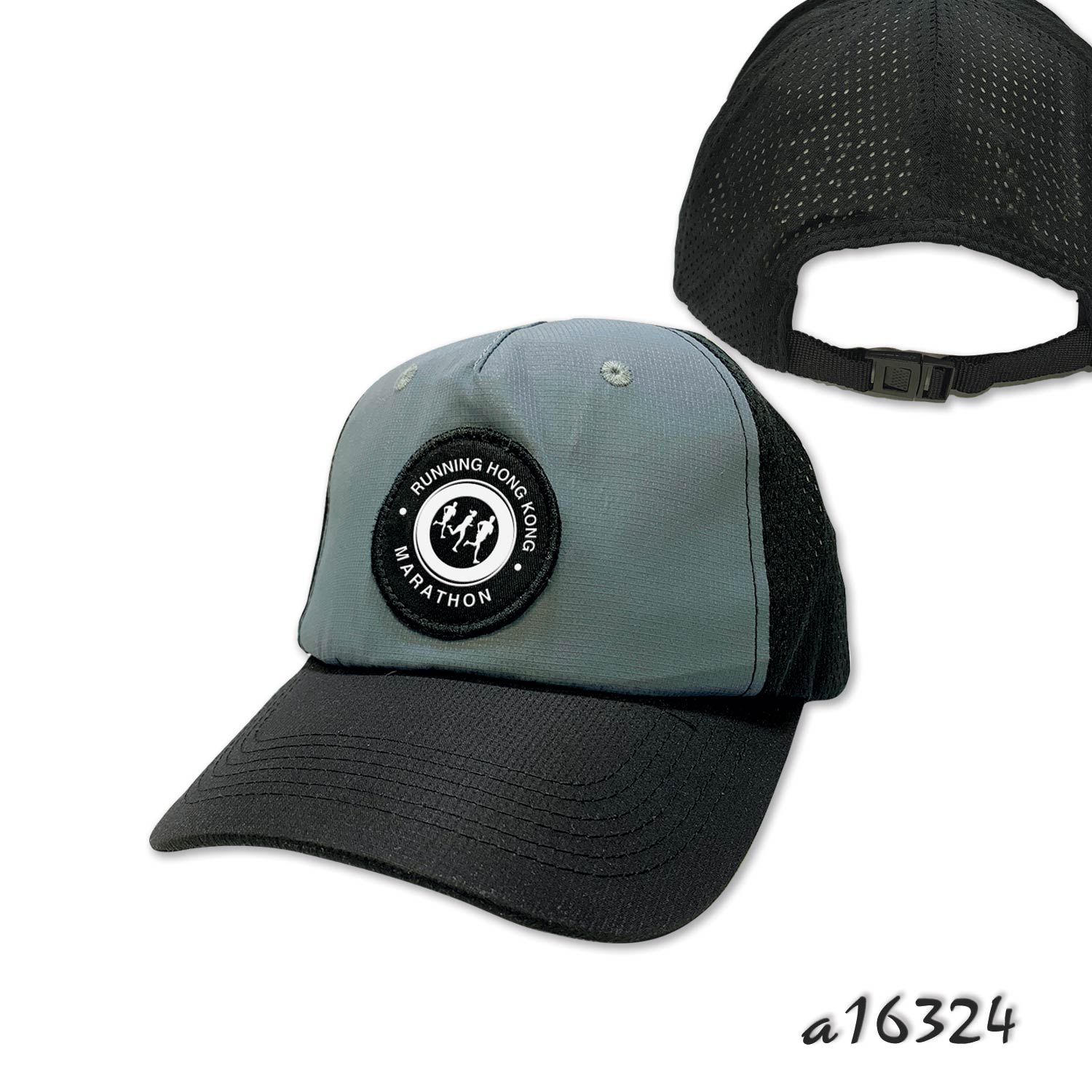 Soft trucker with front sewn on label and adjustable closure strap buckle
