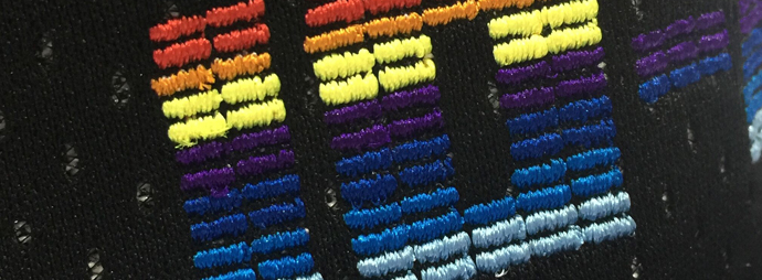 Flat Emb in micro rectangle with multi color