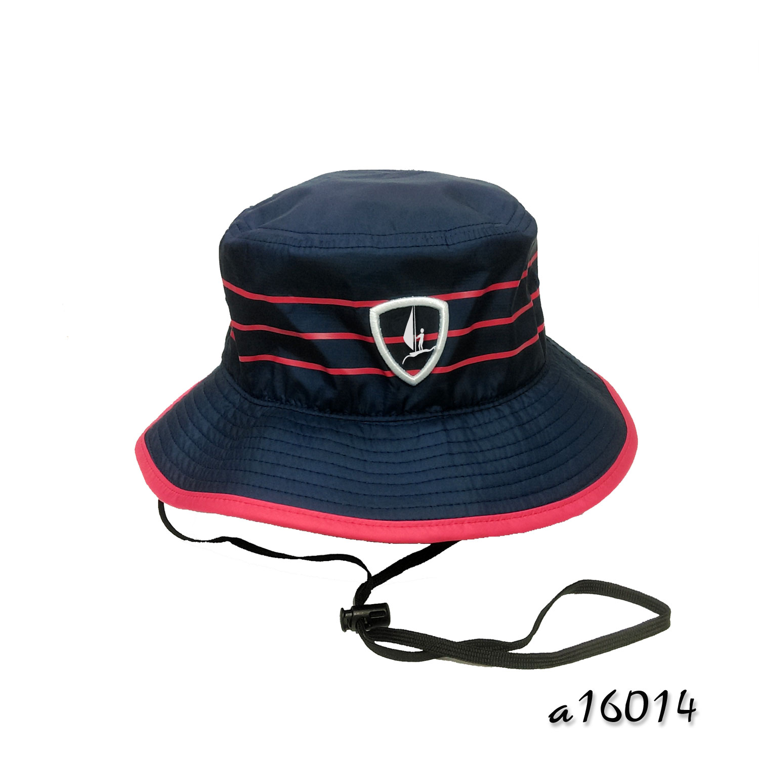 Water Resistant Fisherman Hat with Printed Stripes and contrast binding